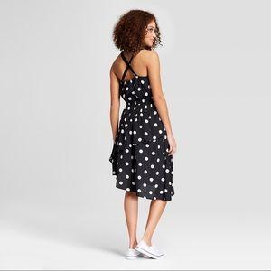 a new day Dresses - Polka Dot Sleeveless Ruffle Skirt Dress - Black
